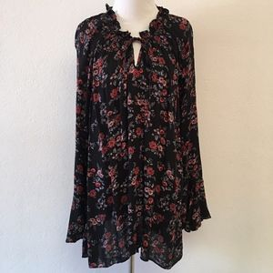 City Chic Floral Black Long Sleeve Top Size L / 20